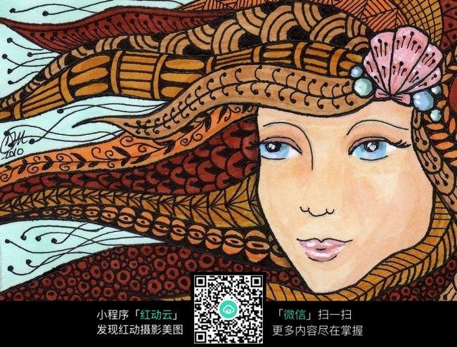 女生头发创意手绘插画设计