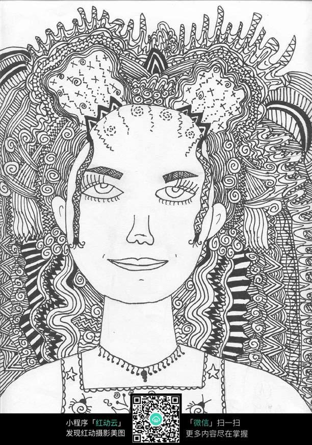 女生正面头像创意手绘插画设计图片