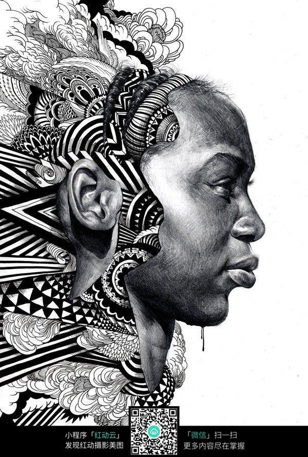 女性侧面头像手绘创意插画