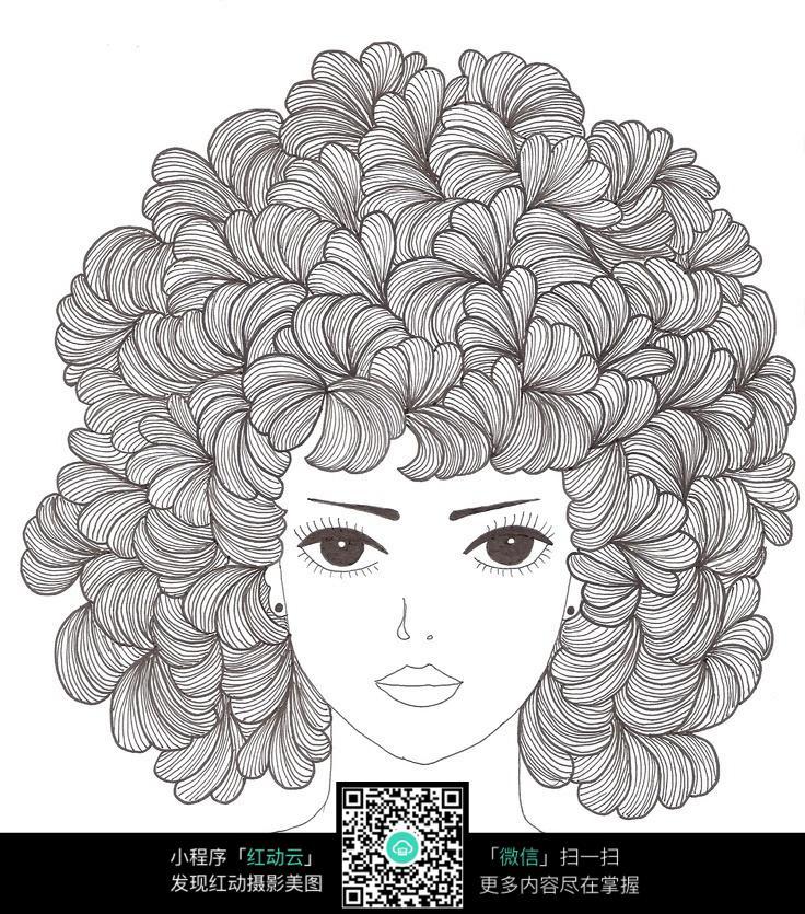 女性头发创意手绘插画设计图片