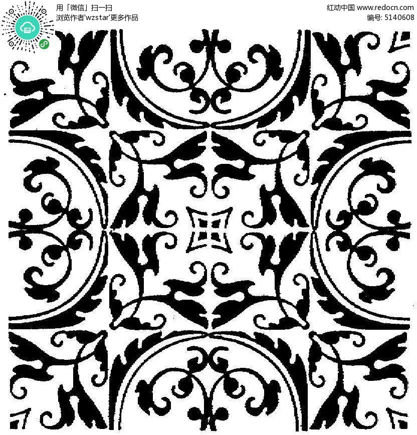 欧式植物黑白花纹