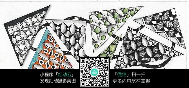 三角形 花纹 图案 设计 图案 手绘 色彩 构成 独特