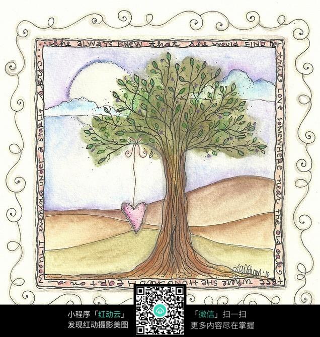 沙漠中的树创意手绘插画