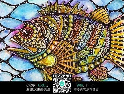 手绘彩色鱼装饰画图片