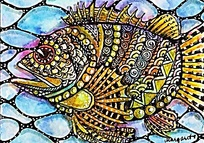 手绘彩色鱼装饰画