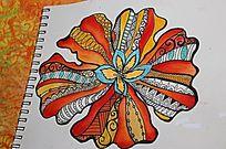 手绘彩色装饰花朵