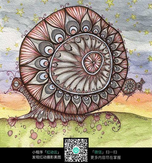 蜗牛手绘 线条纹理 线条艺术