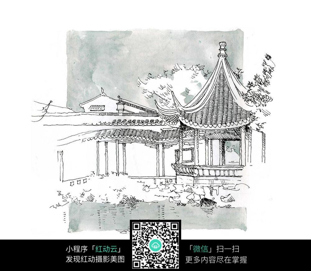手绘中式庭院图片