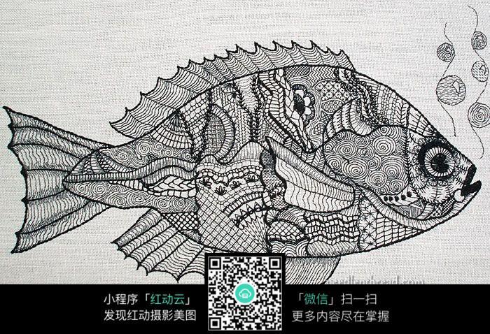 水中的鱼创意手绘插画图片
