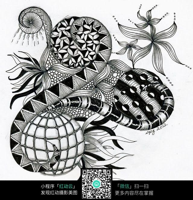 树叶 花纹 图案 精致 形象 手绘 黑白 构成