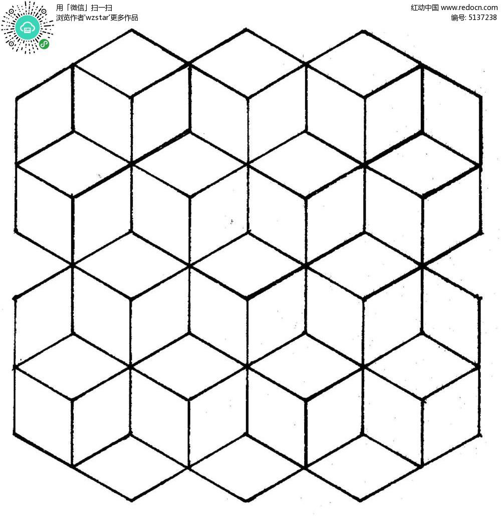 四边形组合图案 几何图形 线条图形花纹 简约图形组合花纹 tif
