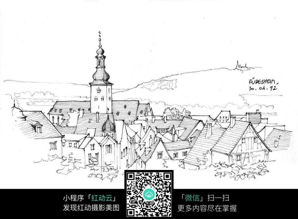 城市公园手绘线稿