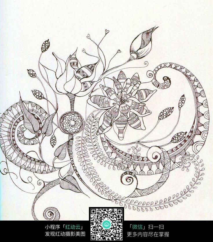 线条手绘花朵图片