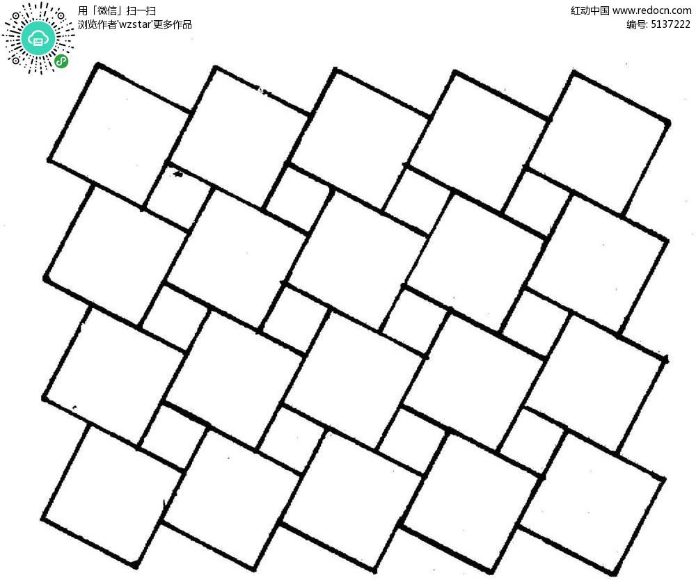 线条正方形组合花纹