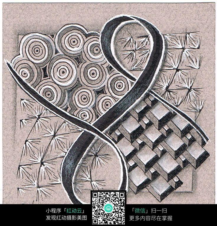 圆环纹理手绘插画设计