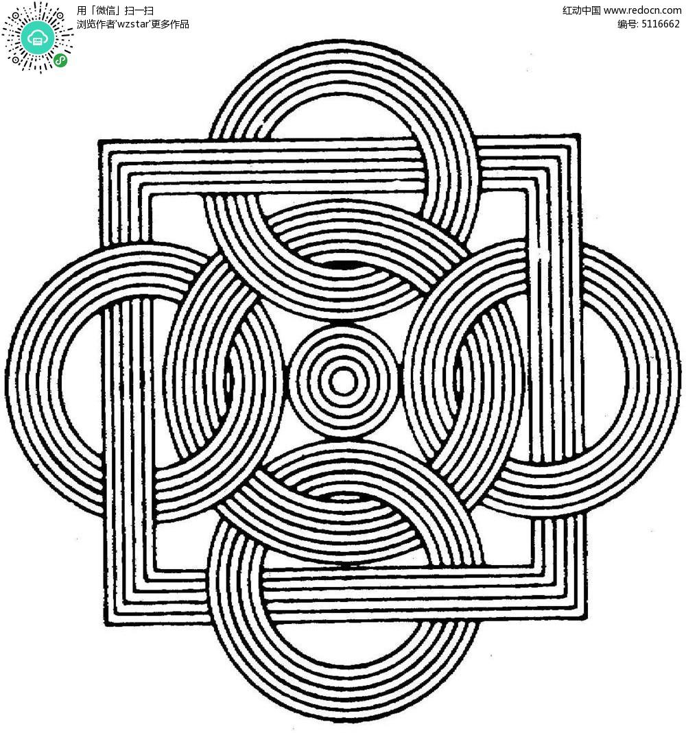 正方形和圆形套叠花纹镂空
