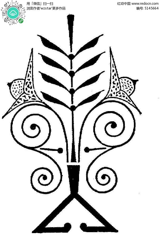 黑白抽象插画手绘