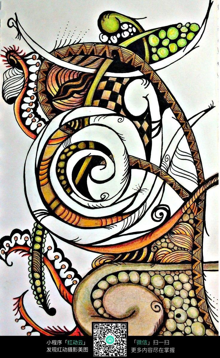 抽象创意色彩手绘