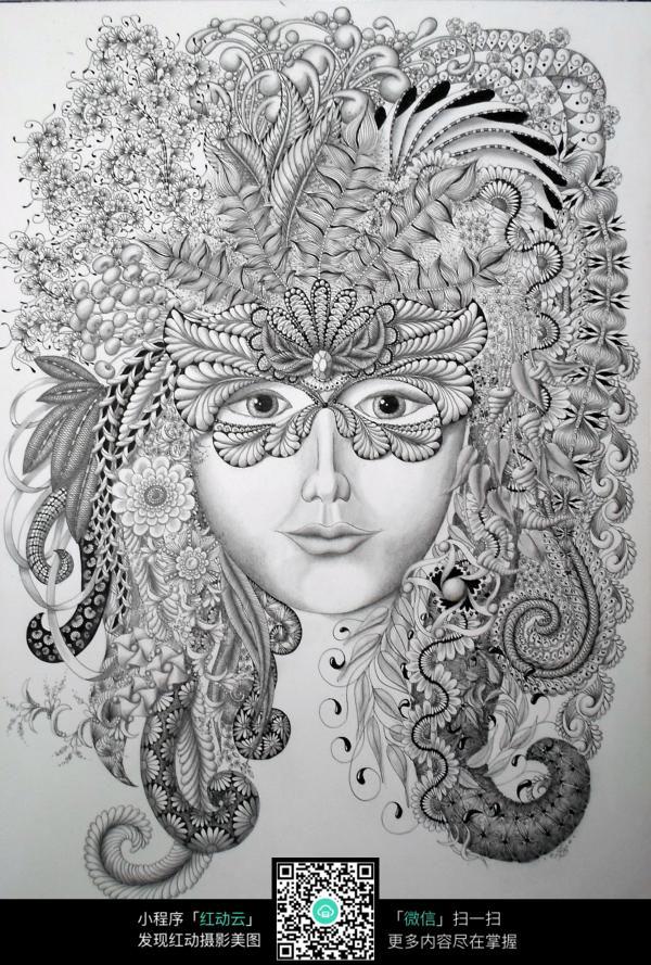 戴着面具的女人画像