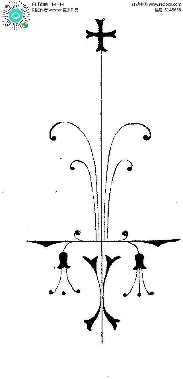 欧式吊灯手绘黑白