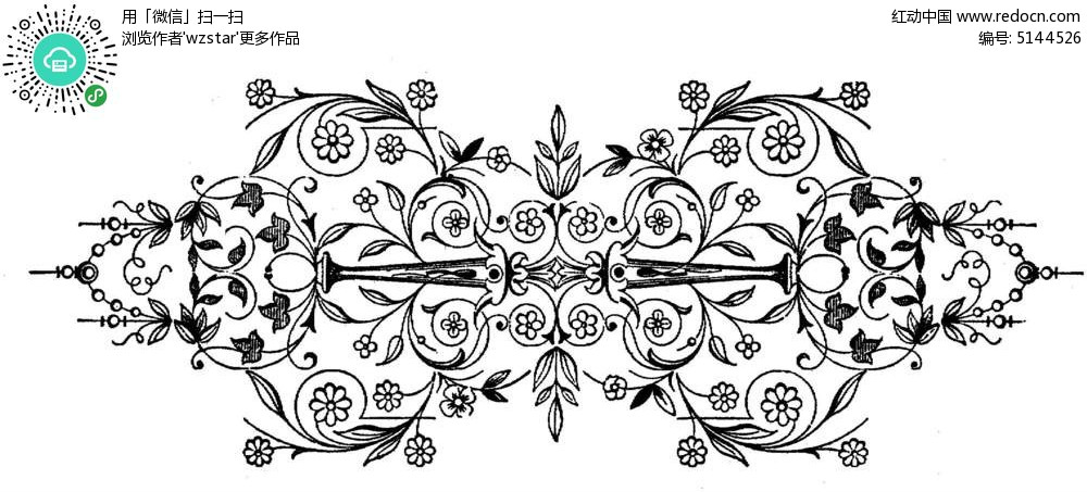 对称植物线条花纹TIF素材免费下载 红动网