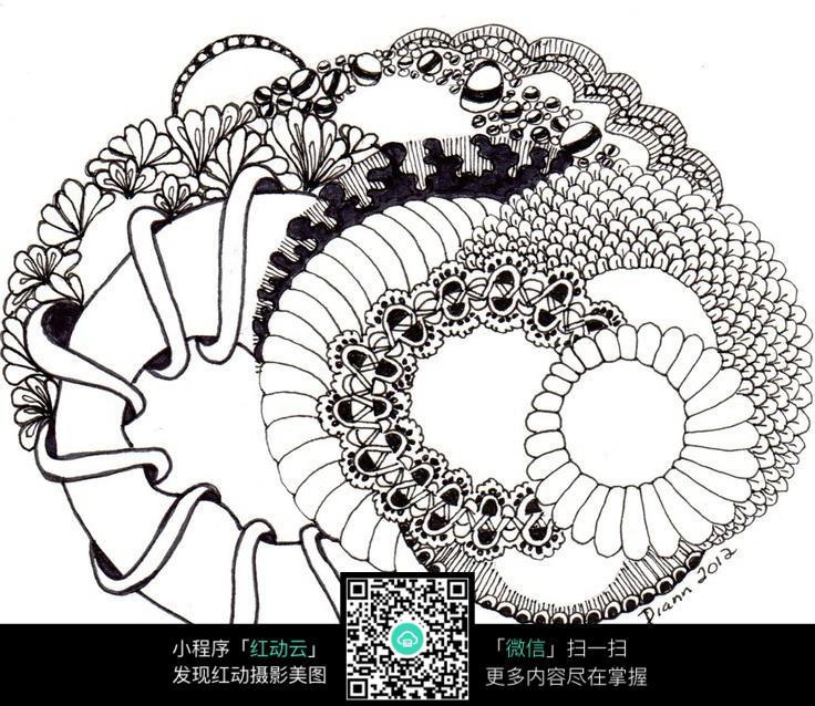 复杂花卉手绘排线jpg格式图片