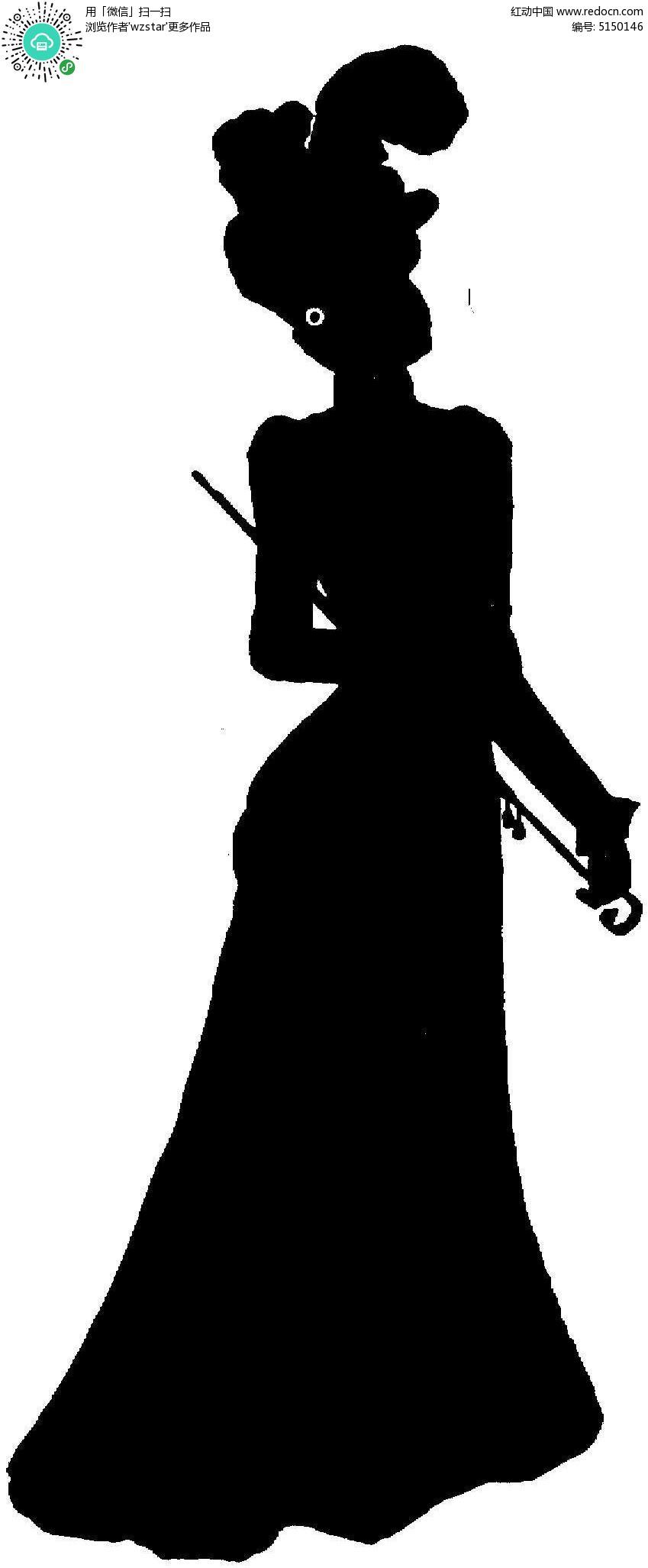 古代仕女人物剪影