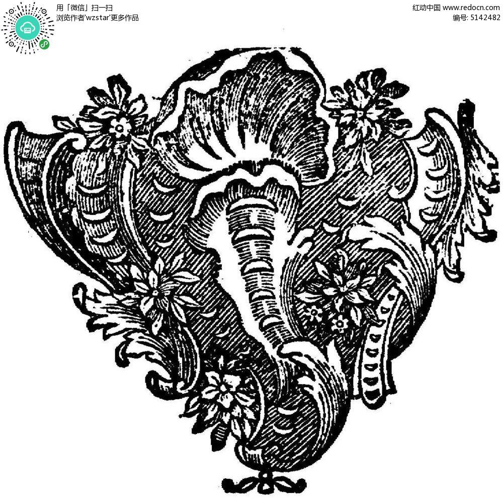 黑白欧式插图 复古欧式花纹
