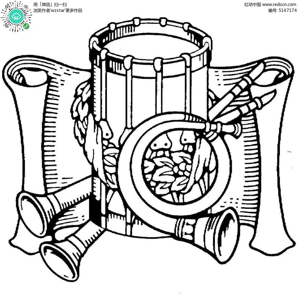 黑白乐器插图图片
