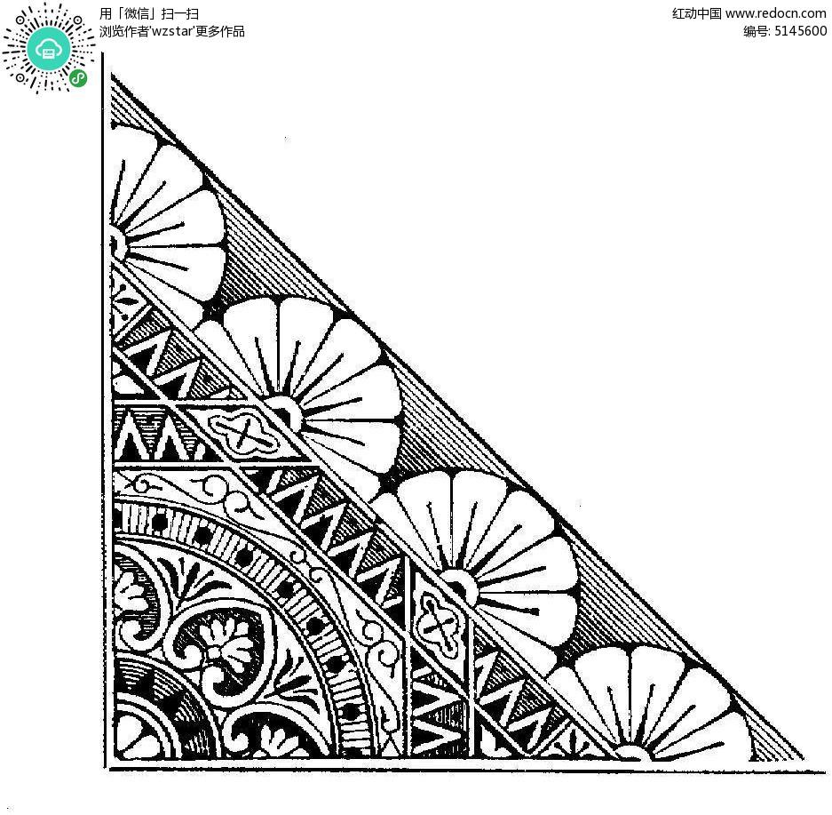 黑白花纹插图图片