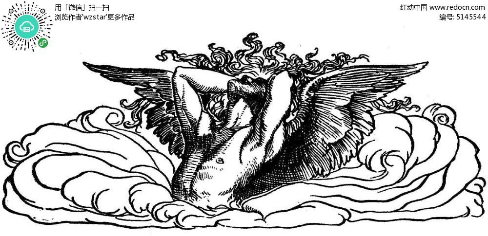 神话天使 黑白花纹插图