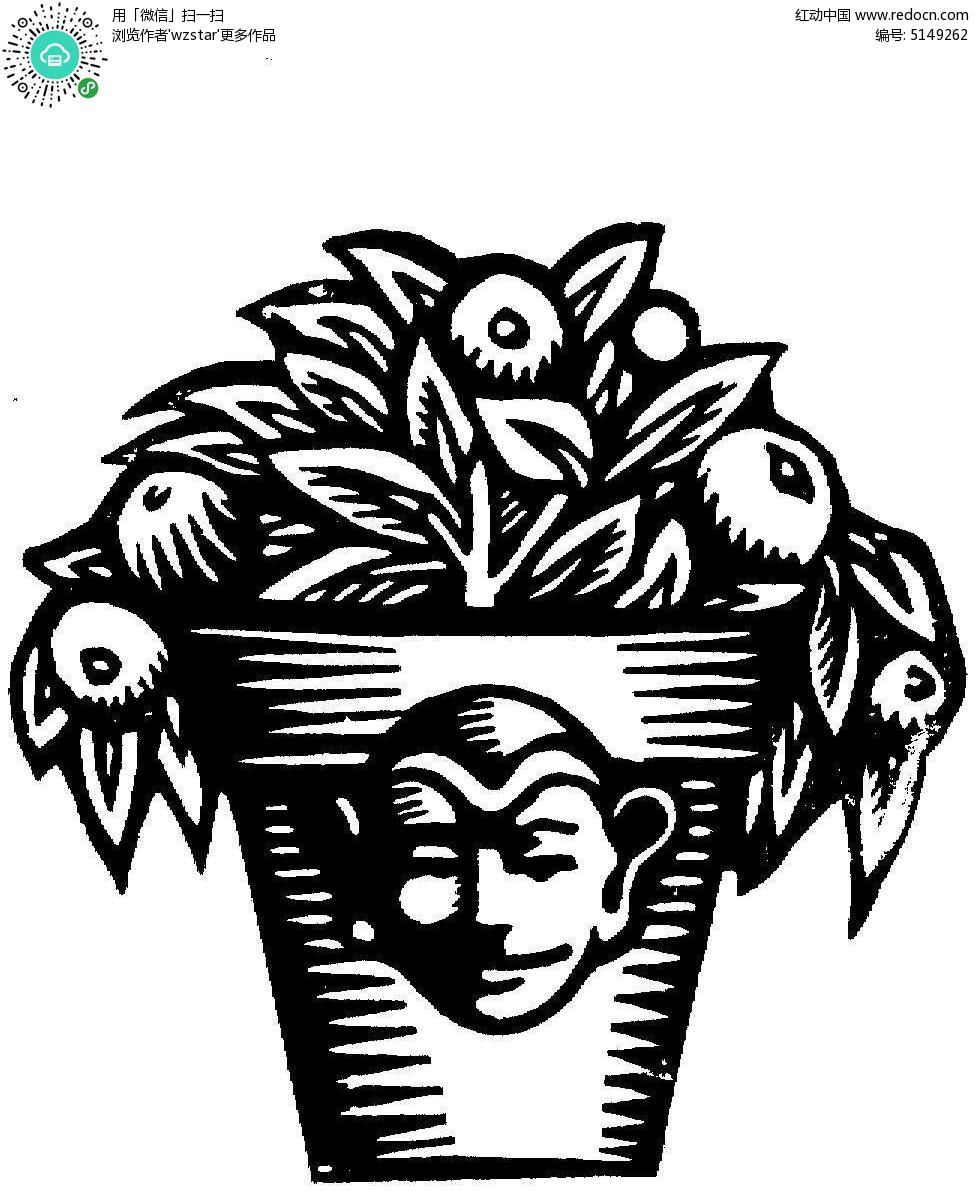 黑白植物盆栽