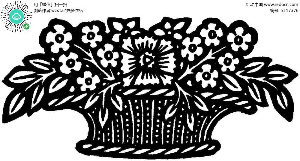 花篮花盆印花图案
