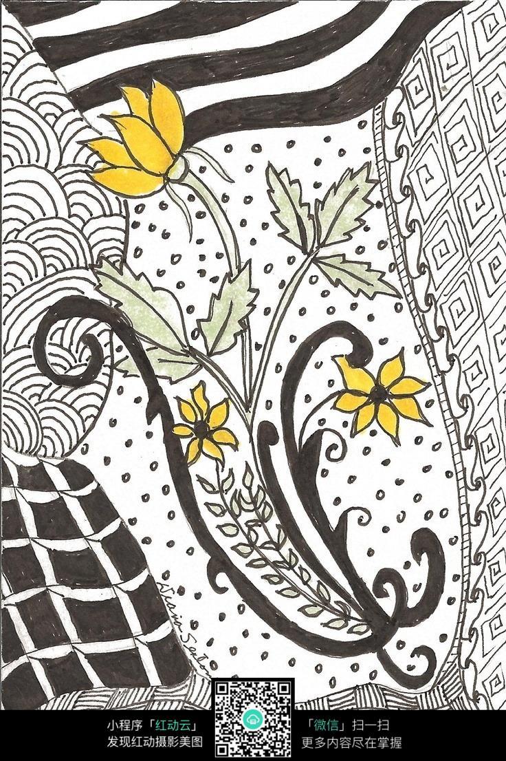 花朵 叶子 花纹 图案 设计 精美 手绘 色彩 构成