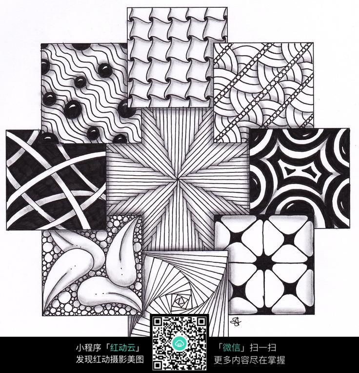 卡片 图案 组合 十字架 图形 特色 创意 手绘 黑白 构成