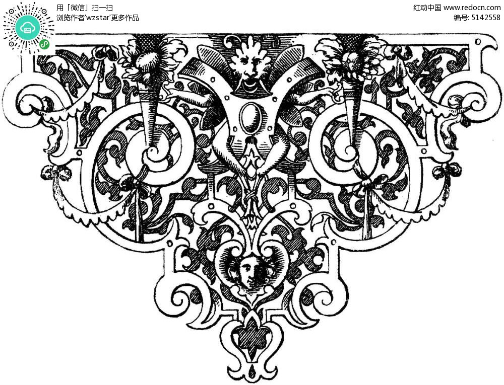 镂空三角花纹 黑白花纹插图 古典装饰花纹 欧式复古插画 tif