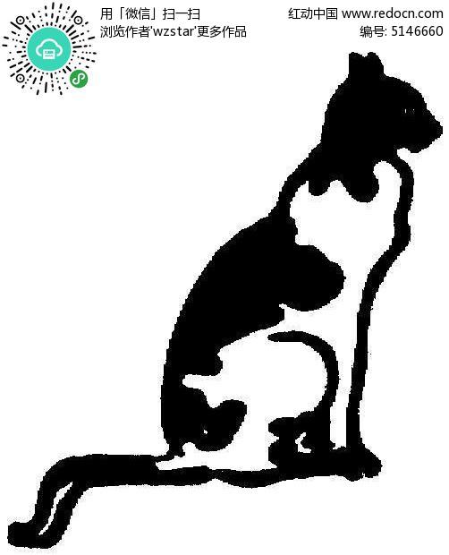 手绘插画猫黑白
