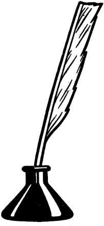 羽毛笔墨水瓶素材