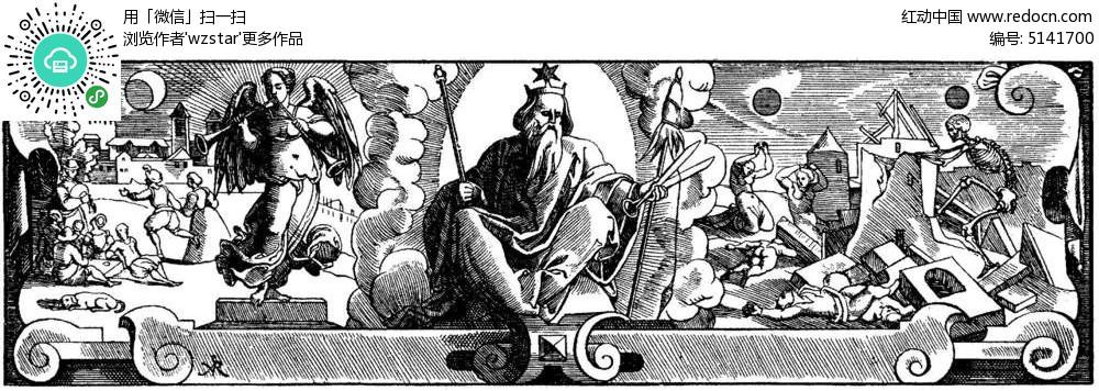 欧式宗教建筑插画