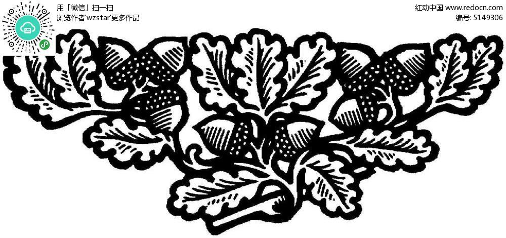 松果树叶花纹