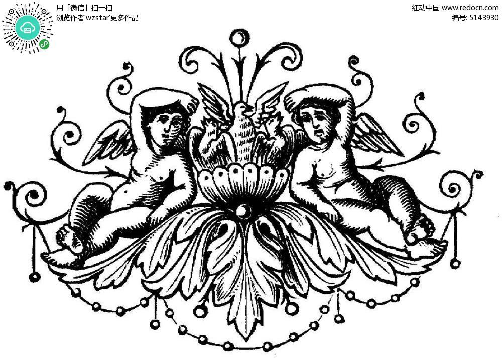 黑白花纹插图