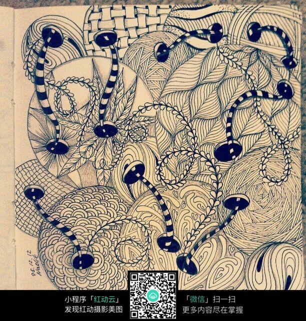 纽扣 图形 线条 图案 球形 叶子 纹路 手绘 黑白 构成 艺术 精品