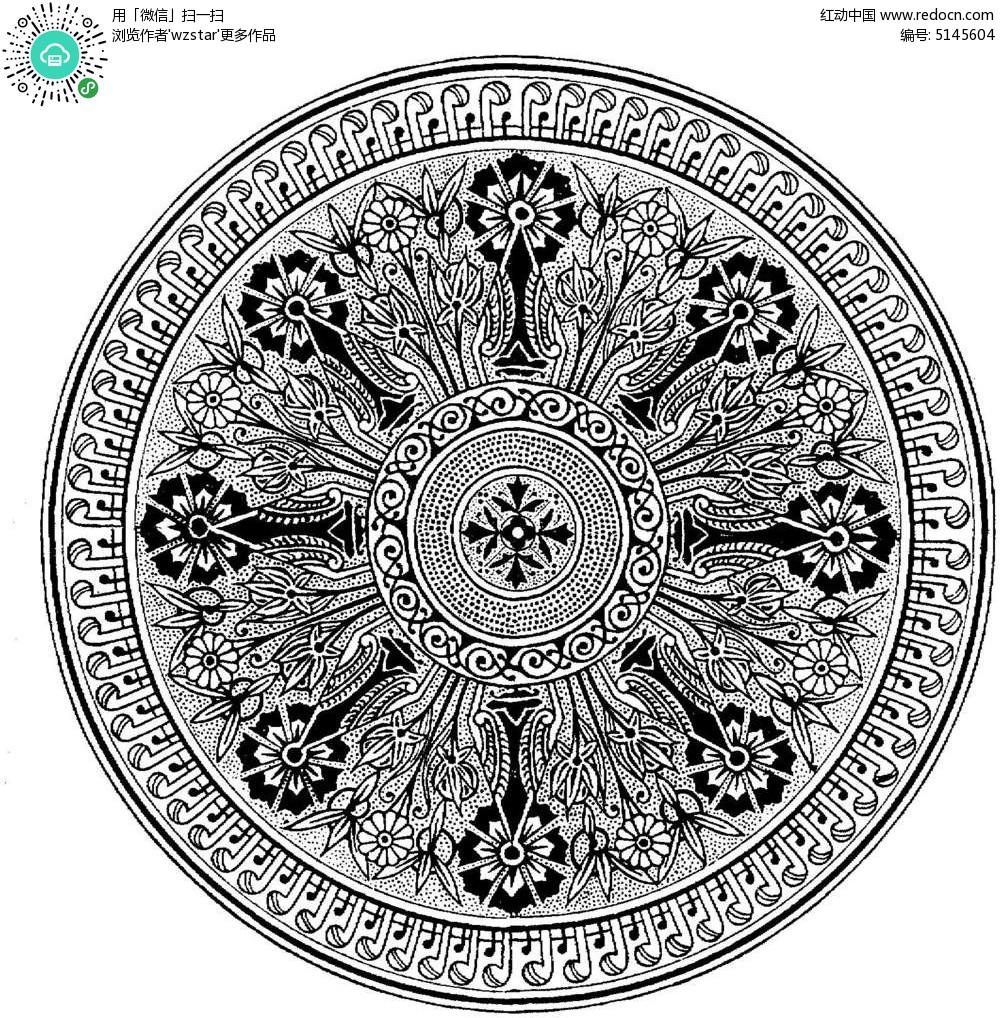 圆形复杂装饰花纹 黑白花纹插图