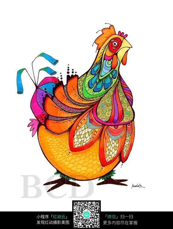 彩色大公鸡