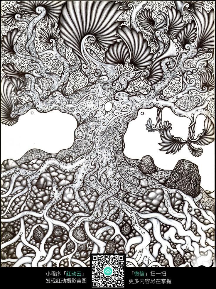 参天大树原创手绘插画