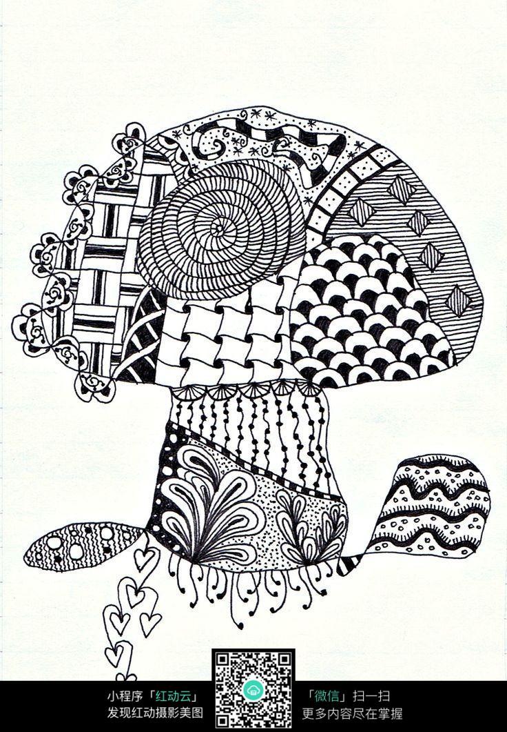 创意手绘蘑菇树图片