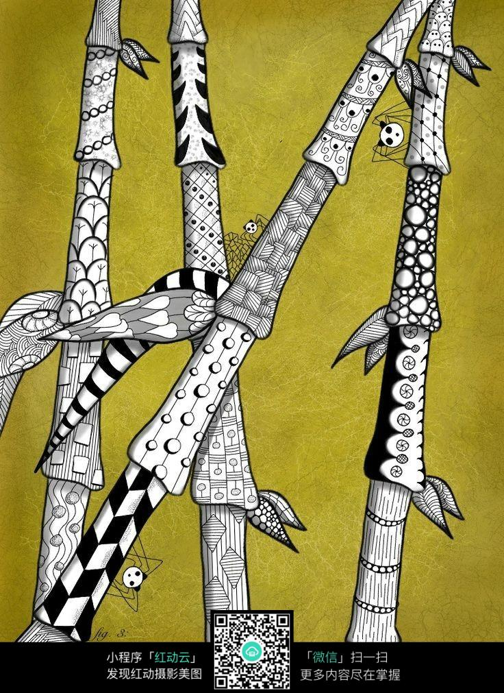 创意竹子手绘插画
