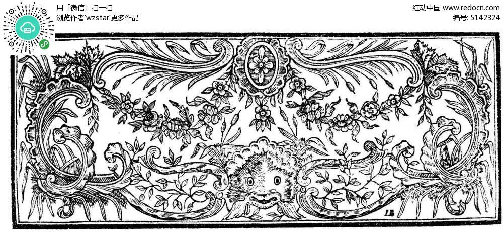 黑白植物花纹插图tif素材免费下载_红动网