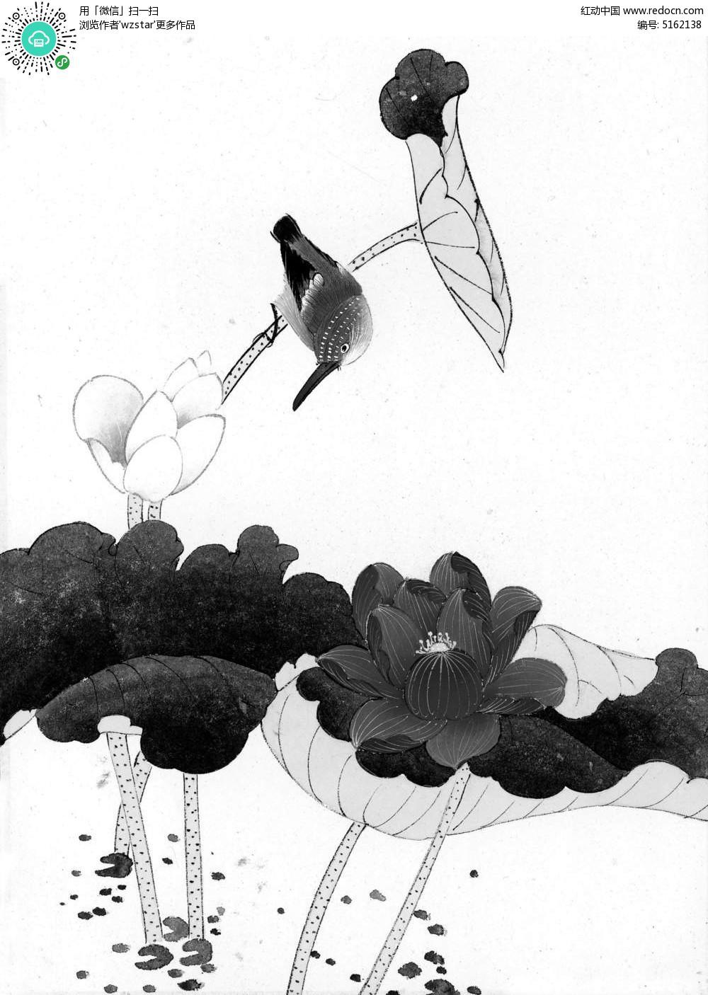 荷叶水墨画-黑白国画