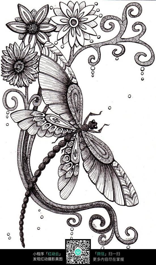 花丛中的蜻蜓创意手绘插画图片